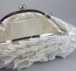 WHITE SATIN EVENING BAG Pleated Flower CLUTCH PURSE BRIDAL w/ Chain