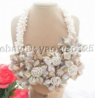 Charming 4Strds White Pearl&Shell Flower Necklace