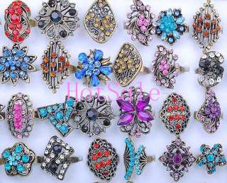 wholesale jewelry lots 50pcs rhinestone vintage copper tone rings