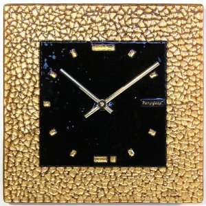 Art Glass with Gold Leaf Wall Clock Golden Quadrate