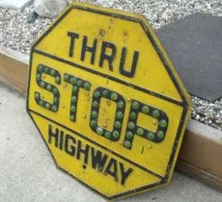 Vintage Metal Yellow Amp Black Stop Sign W Reflectors 24 X 24