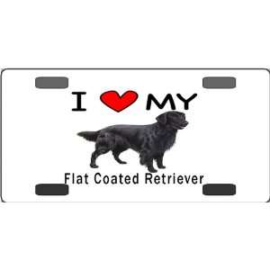 I Love My Flat Coated Retriever Vanity License Plate