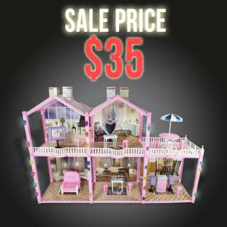 139 PC Deluxe Dollhouse Children Girl Toy Playset Fits Barbie Size