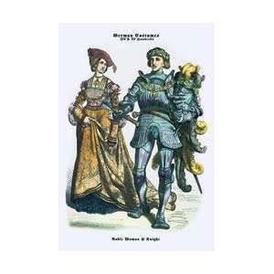 German Costumes Noble Woman and Knight 20x30 poster