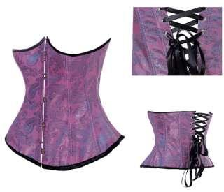 Goth Punk Waist Cincher Belt Underbust Hook Corset Floral Stripe Star