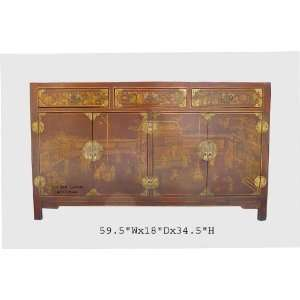Chinese Red Gold Painted Leather Buffet Table Cabinet