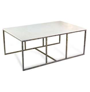 Pax Modern Contemporary Ivory White Marble and Iron Coffee Table