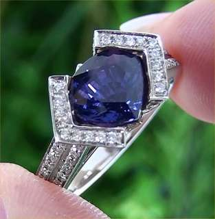 GIA Certified 3.51 ct Natural Purple Sapphire Diamond Engagement Ring