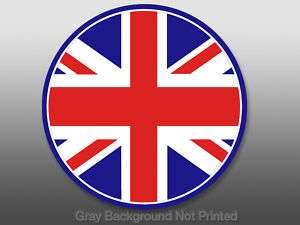 Round Union Jack Flag Sticker   London decal England UK