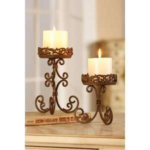 French Provincial Scroll Pillar Candle Holder Set: Home & Kitchen