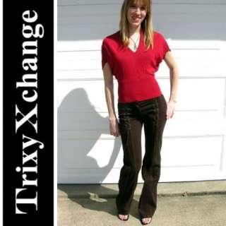 BEBE RED BATWING LACE TOP Shirt Girls Crochet Sexy XS