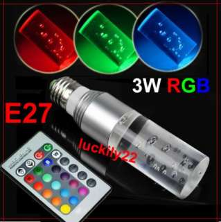 RGB Cyclinder Crystal LED Light Bulb Remote Control 16 Color