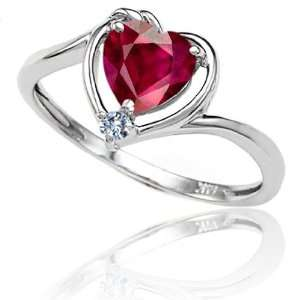 Gold Lab Created Heart Shape Ruby and Diamond Ring(Size4) Jewelry