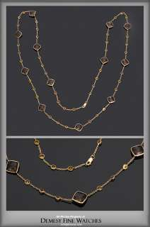 Citrine and Smokey Topaz 36 inch 14K Yellow Gold Chain Necklace