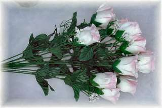 84 Long Stem Roses ~ PINK TIP WHITE MIX ~ Silk Wedding Flowers