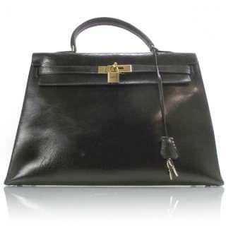 HERMES Box Leather KELLY 35 Bag Purse Tote Black
