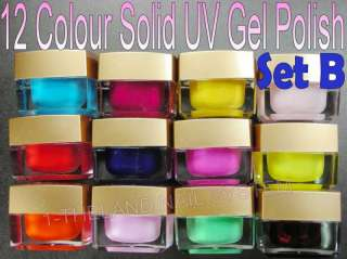 12 Solid Colour Gold Box Nail Art UV Gel Polish B Set
