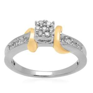 18k Yellow Gold Plated Sterling Silver Diamond Round Head Promise Ring