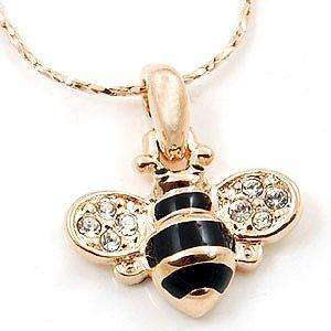 18K Rose Gold Plated Bee Pendant Necklace Inlay Crystal 10966