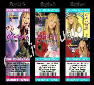 Hannah Montana Birthday Party Ticket Invitations Favors