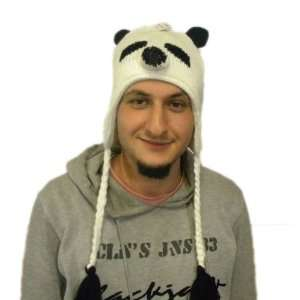 Knit panda Hat Animal Brand New High Quality acyrlic white