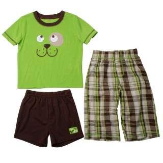 NWT Carters Boys Pajamas Plaid 3 Pc Top Shorts Pants 4T