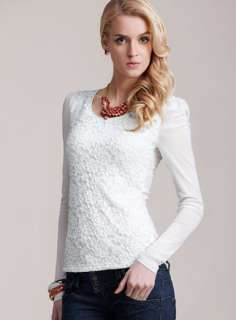 2012 Romantic Lace Puff Sleeve Flower Womens Bottoming T Shirt S M L