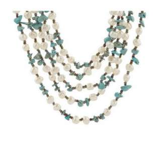 Multi Strand Pearl and Turquoise Necklace & Bracelet