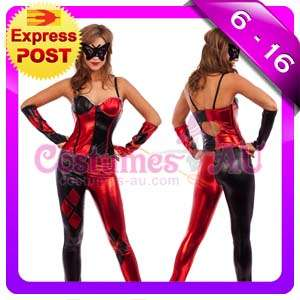 Ladies Harlequin Jester Masquerade Costume Joker Fancy Dress Full