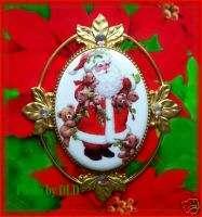 CHRISTMAS SANTA/TEDDY BEARS CAMEO Costume Jewelry PIN/BROOCH/PENDANT