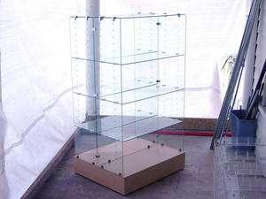 Large Retail Store Glass Display Case Shelve Wheels Big