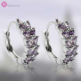 OVAL CUT PURPLE AMETHYST WHITE GOLD GP EARRINGS EARINGS
