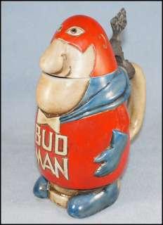 First Issue Bud Man Budweiser Lidded Beer Stein Mug Ceramarte Brazil