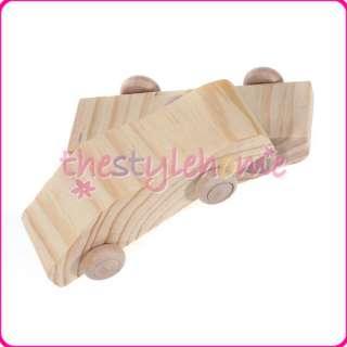 4pcs Children Hand Painted DIY Pine Wooden Car Creative Kids