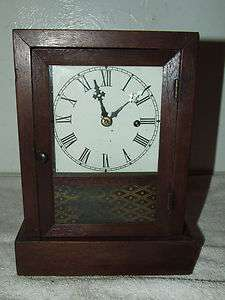 Working ANSONIA Mahogany Cottage Clock c.1880; Reverse Painted Glass