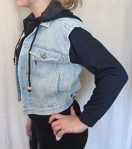 VTG Rare 80s BUGLE BOY Women XS Small Poly Cotton DENIM JACKET