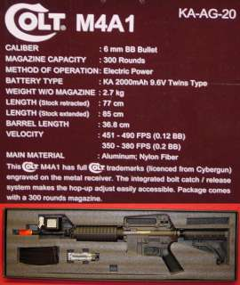 COLT M4A1 ka ag 20 FULL METAL King Arms #18970 Black M4 490fps AIRSOFT