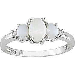 10k White Gold Diamond and Opal Three stone Ring