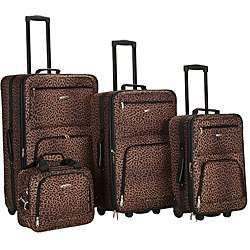 Rockland Leopard 4 piece Expandable Luggage Set