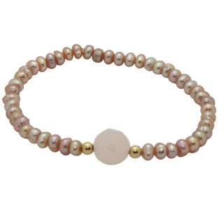 14k Gold Pink Pearl and Crystal Baby Bracelet (6 mm)