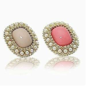 New Fashion Womens White+Pink Square Agate Earrings Stud