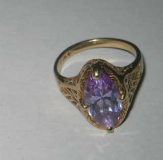 Yellow Gold & Amethyst Cocktail Dinner Ring Filigree Setting