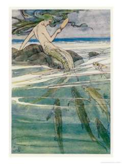 Mermaid on a Rock Giclee Print by Alice B. Woodward at AllPosters