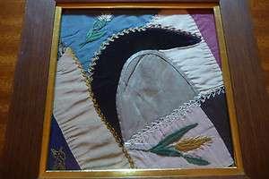 Antique folk art 1880s crazy quilt block in old frame
