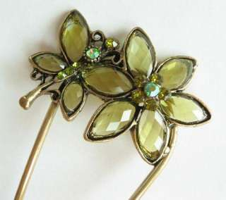 SWAROVSKI CRYSTAL VINTAGE FLORAL BUTTERFLY HAIR STICK PIN PICK 386