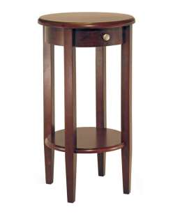 Concord Antique Walnut Wood Round Accent End Table