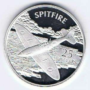 ISLANDS $25 SILVER PR COIN 1oz WORLDS GREATEST AIRCRAFT   SPITFIRE