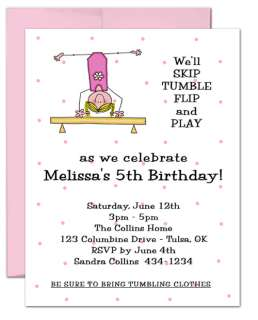 10 LITTLE GYMNAST GYMNASTICS birthday party invitations