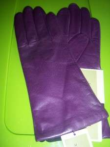 Ladies Fownes Purple Cashmere lined Leather Gloves,Smal