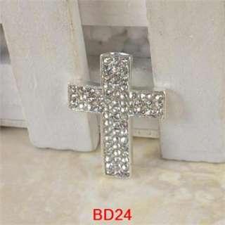 DIY Curved Side Ways Crystal Rhinestone Cross Bracelet Connector Charm